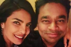 Priyanka Chopra with AR Rahman at an event.
