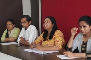 (From left to right) Sarika Aakhade, Deepak Chatap, Kalyani Mangave and Mrudgandha Dixit, members of the 'WeToo' committee, explain their objectives on Wednesday.