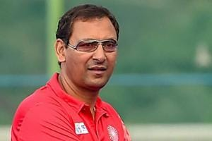 Indian Hockey team coach Harendra Singh during a practice session.