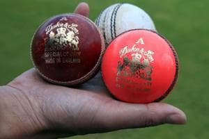 The pink Dukes ball to be used in the 1st Day Night Test match during the nets session at Edgbaston, Birmingham