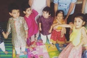Kareena Kapoor's son Taimur with Tusshar Kapoor's son Laksshya and Soha Ali Khan's daughter Inaaya.