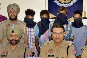 The accused in police custody in Ludhiana on Friday.