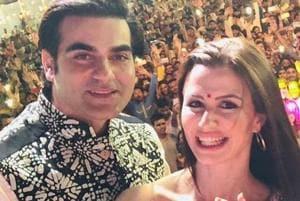 Arbaaz Khan with girlfriend Giorgia Andriani in Gujarat.