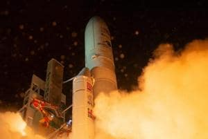 In this photo provided by European Space Agency (ESA), the Ariane 5 rocket carrying BepiColombo lifts off from its launch pad at Kourou in French Guiana, October 20, 2018.