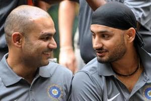 File picture of Harbhajan Singh and Virender Sehwag