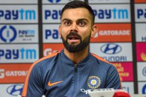 Indian cricket team captain Virat Kohli addresses a pre-match press conference ahead of their first One Day International cricket match against West Indies, at ACA Stadium, in Guwahati.