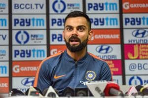 Guwahati: Indian cricket team captain Virat Kohli addresses a pre-match press conference ahead of their first One Day International cricket match against West Indies, at ACA Stadium, in Guwahati.