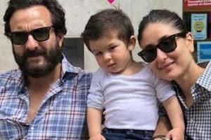Saif Ali Khan with wife Kareena Kapoor Khan and son Taimur.