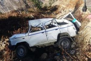 The driver lost control on the vehicle while negotiating a sharp curve and the SUV skidded off the road and plunged into a gorge near Gulaba, 28 kilometres from the tourist town Manali in Himachal Pradesh's Kullu district.