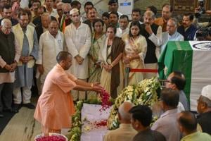 Uttar Pradesh chief minister Yogi Adityanath pays floral tributes to former chief minister of UP and Uttarakhand ND Tiwari at Vidhan Bhawan in Lucknow, on October 20, 2018.