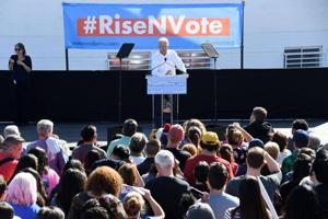 Former U.S. Vice President Joe Biden  campaigning for Nevada Democratic candidates on Saturday in Las Vegas ahead of the midterm elections. A Russian woman has been accused of conspiring to sway American public opinion through social media in these elections.