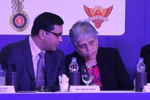 File image of BCCICEO Rahul Johri with CoAmember Diana Edulji.