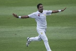 File image of Mohammad Abbas celebrating the fall of a wicket during a Test match.