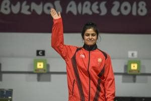 Manu Bhaker of India celebrate after winning the Gold medal after competing in 10m Air Rifle Women during Day 3 of Buenos Aires 2018 Youth Olympic Games at TecnÛpolis Park on October 9, 2018 in Buenos Aires, Argentina.