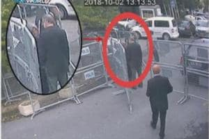 This image taken from CCTV video obtained by the Turkish broadcaster TRT World and made available on Sunday, Oct. 21, 2018, purportedly showing Saudi journalist Jamal Khashoggi talking to his fiancee Hatice Cengiz, seen in expanded view, before entering the Saudi consulate in Istanbul, Tuesday, Oct. 2, 2018.