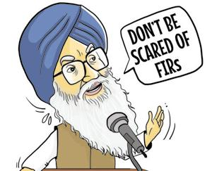 """Parchean to na ghabraya karo, eh parche hi ne jinha karke mai mukh mantri banya haa (Don't be scared of FIRs registered against you. It is these FIRs that made me the chief minister),"" Badal said at a gathering in Rampura Phul."