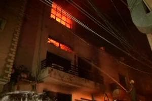 A fire broke out in two garment warehouses on Rama Road in Delhi Sunday night.