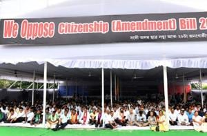Activists of All Assam Students Union (AASU) along with 28 indigenous organizations take part in a mass hunger strike in protest against the Citizenship (Amendment) Bill 2016 proposal in Guwahati on May 29.