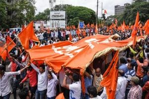 Maratha protestors outside the collector's office in Pune on August 9, 2018.