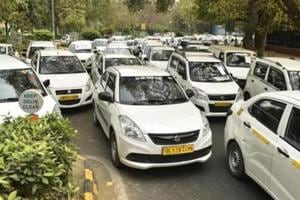 Hundreds of commercial cars parked near Jantar Mantar due to a strike by the drivers of Ola and Uber cabs at Parliament Street in New Delhi on  March 22.
