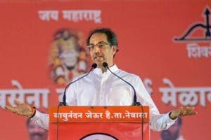 Uddhav Thackeray, president, Shiv Sena,  speaks at a rally, in Shirdi, on Sunday.