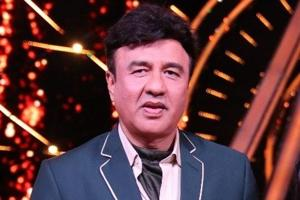 Music composer Anu Malik on the sets of singing reality show Indian Idol 10.