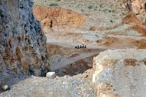 Aseverely denuded mining site in the Aravalli mountain range in Rajasthan.(HT/FilePhoto)