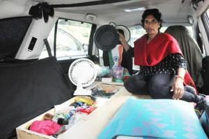 Sangeetha has transformed the SUV she's travelling in into her mini home.