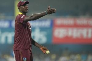 West Indies team captain Jason Holder gestures during the first one day international (ODI) cricket match between India and West Indies