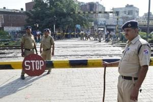 Security personnel at Jaura Phatak in Amritsar on Monday.