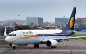 Jet airways aircraft taxis for take off at Mumbai International Airport in Mumbai.