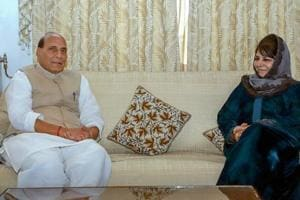 Union home minister Rajnath Singh with the president of the Jammu and Kashmir Peoples Democratic Party (PDP) Mehbooba Mufti, in Srinagar on October 23, 2018.