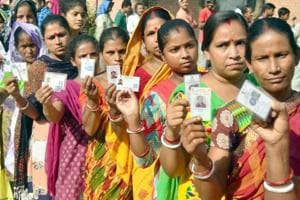 Voters waiting in a queue to cast their vote at polling station. (Representational Photo)
