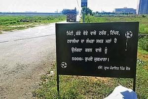 The board has been put up at the entry point of Bains village, 15km from Ludhiana.