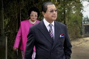 Chief Minister of Mizoram Lal Thanhawla with his wife in Aizawl on Sunday.