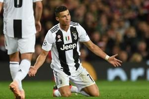 Juventus striker Cristiano Ronaldo in action against Manchester United at Old Trafford.