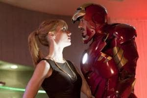 Pepper Potts and Tony Stark in a still from Iron Man.