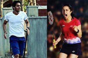 Eshan Naqvi (left) and Shraddha Kapoor's first look from the Saina Nehwal biopic.