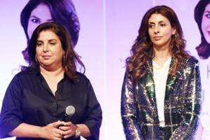 Farah Khan and actor Amitabh Bachchan along with his daughter Shweta Bachchan Nanda at the launch of author Jaishree Sharad
