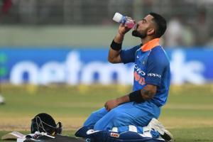 Virat Kohli takes a break during his innings  in Visakhapatnam on Wednesday.