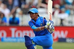 Harmanpreet Kaur of India bats during the England v India group stage match at the ICC Women