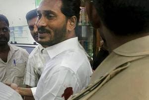 YSR Congress Party chief Jagan Mohan Reddy after he was stabbed on his arm at Visakhapatnam airport on Thursday.