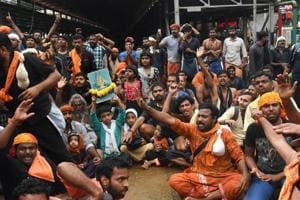 Protesters oppose the entry of women to the Sabarimala Temple, Kerala, Friday, Oct 19, 2018.