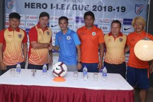 Neroca FC take on East Bengal in the I-League encounter in Imphal.