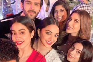 Manish Malhotra's glam posse comprising Janhvi and Khushi Kapoor, Kiara Advani, Kartik Aaryan and Sophie Choudry.