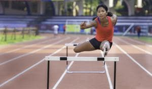 Asian Games gold medallist Swapna Barman at a practice session in Bengaluru. She trains at Sports Authority of India centres and gets financial and training support from the not-for-profit Go Sports Foundation.