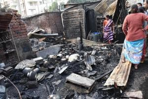 Fire brigade officials stated that the fire might have started due to a short circuit in Dalvinagar slum.