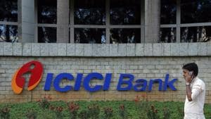 A logo of the ICICI Bank at its headquarters in Mumbai.