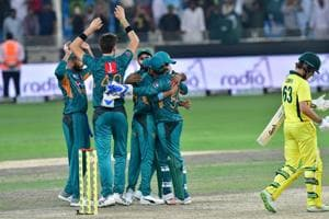 Pakistan cricketers celebrate after victory in the second T20 cricket match between Pakistan and Australia