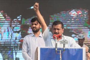 Delhi chief minister Arvind Kejriwal addresses a public meeting at Ramlila Ground in Jaipur on Sunday.